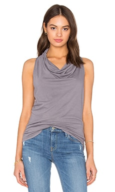 Light Weight Cashmere Terry Cowl Neck Tank in Pavement