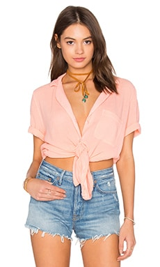 Bobi Gauze Button Down Tee in Peachy