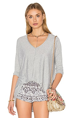 Bobi Knit Gauze 3/4 Sleeve Top in Heather Grey