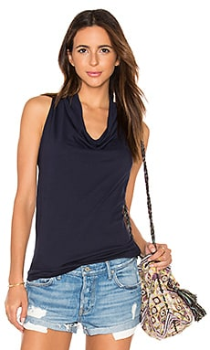 Light Weight Cashmere Terry Cowl Neck Tank in Passport