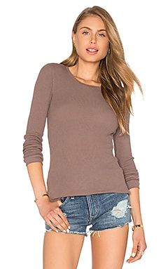 Modal Thermal Long Sleeve Crew Neck Top in Beige