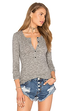 Mini Striped Jersey Long Sleeve Half Button Top in Black