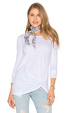 Bobi Slubbed Jersey Long Sleeve Gathered Front Top in White