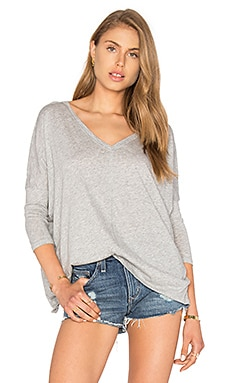 Bobi Light Weight Jersey V Neck Dolman Top in Heather Grey