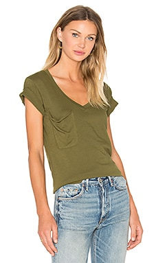 Light Weight Jersey V Neck Front Pocket Tee in Chartreuse