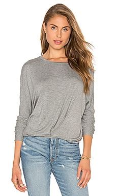 Bobi Tencel Jersey Drape Front Top in Grey