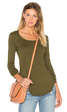 Bobi Slubbed Jersey Long Sleeve Scoop Neck Top in Chartreuse
