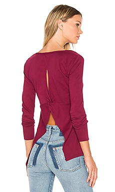 Bobi Light Weight Jersey Open Back Long Sleeve Top in Boysenberry