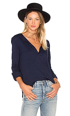 Slubbed Jersey 3/4 Sleeve Top in Harbor