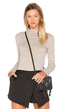 Mini Striped Jersey Long Sleeve Turtleneck Top in Tan