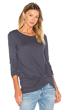 Slubbed Jersey Long Sleeve Gathered Front Top en Granite