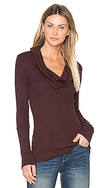 Modal Thermal Cowl Neck Long Sleeve Top in Cocoa