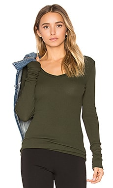 Modal Thermal V Neck Long Sleeve Top in Mistletoe