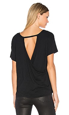 Slub Jersey Cross Back Tee en Noir
