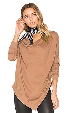 Light Weight Jersey Cowl Neck Long Sleeve Top in Java