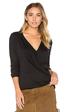 Light Weight Jersey Cross Front Top in Black