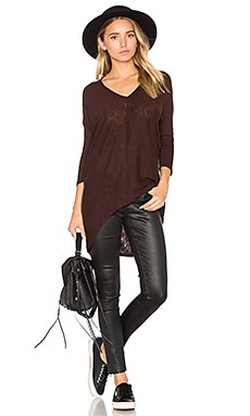 Cotton Slub 3/4 Sleeve Tunic in Cocoa