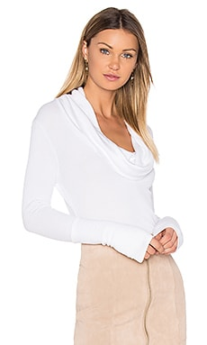 Modal Thermal Cowl Neck Long Sleeve Top in White