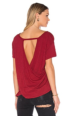 Slub Jersey Cross Back Tee in Cranberry
