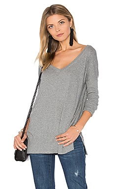 Light Weight Jersey V Neck Tunic en Gris Orage