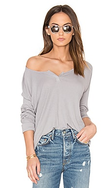 Pima Modal Rib Long Sleeve Tee in Pebble