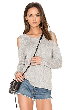 Marled Knit Cold Shoulder Top em Cinza