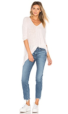 Cotton Slub V-Neck Dolman Long Sleeve Tee in Peony