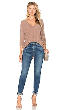 Cotton Slub V-Neck Dolman Long Sleeve Tee in Java
