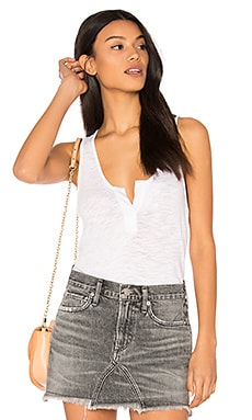 Cotton Slub V Neck Tank in White