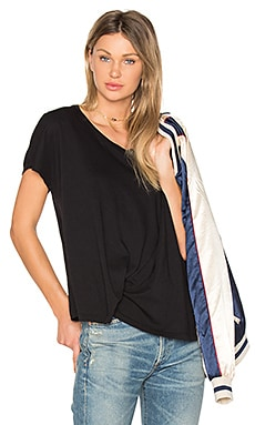 Light Weight Jersey Asymmetrical Tee in Black