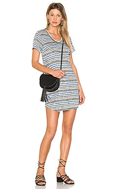 Vintage Stripe Scoop Neck Pocket Tee en Imprimé Bleu