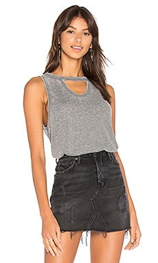 Burnout Drape Back Tank in Black
