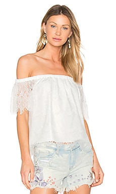 BLACK Lace Off Shoulder Top in White
