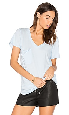 Light Weight Jersey V Neck Pocket Tee in Hydrangea