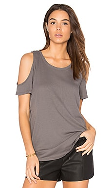 Modal Rib Cold Shoulder Tee in Stone