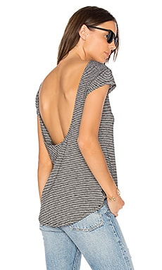 Drape Back Stripe Tee in Black & White