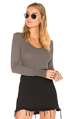 Long Sleeve Thermal V Neck Top