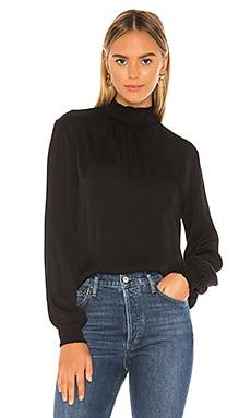 BLACK Textured Viscose Blouse Bobi $87