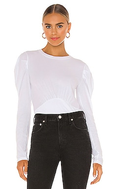 Light Weight Jersey Puff Shoulder Top Bobi $44 NEW