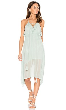 Cielo Soroa Ruffle Midi Dress in Aqua