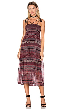boemo Bastille Smocked Tassel Maxi Dress in Maroon