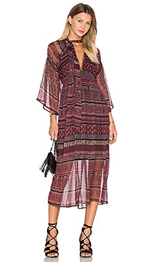 Bastille Midi Dress in Maroon