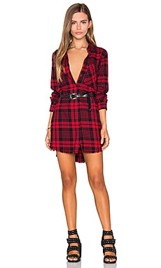 Black Orchid Fray Hem Shirt Dress in Red