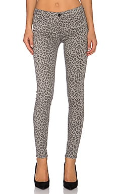 Black Orchid Jude Mid Rise Skinny in Grey Leopard