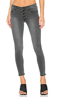 Candice Button Front Skinny in Greystone