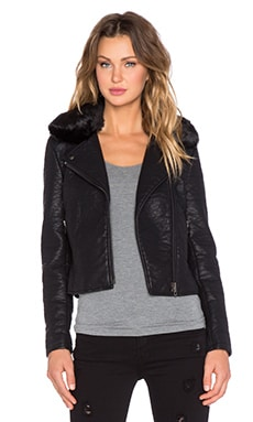 Black Orchid Faux Leather Jacket with Faux Fur Collar in Black