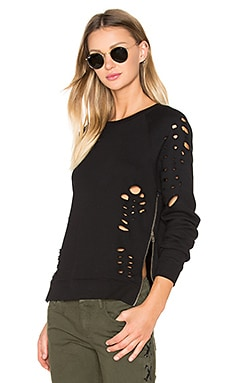 Side Zip Distressed Sweatshirt in Black