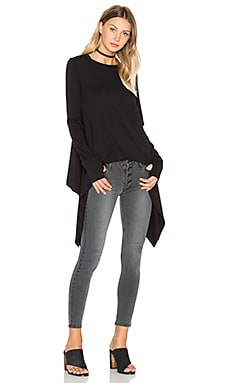 Black Orchid Thumbhole Crew Neck Tee in Black
