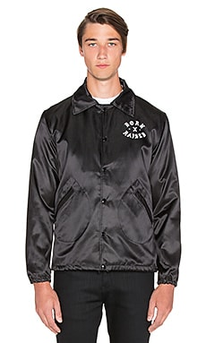 Born x Raised BXR x Ebbets Field Coaches Jacket in Black