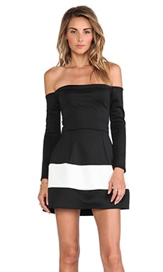 Boulee Marilyn Off shoulder Techno Dress in Black